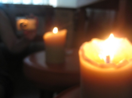 candle reflection in the mirror