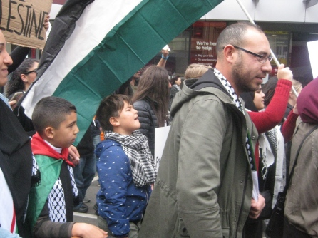 salaam shalom Bakba March 19 May 2018 Melbourne Palestine free Israel conflict non-violent protest reconciliation peace boy calling