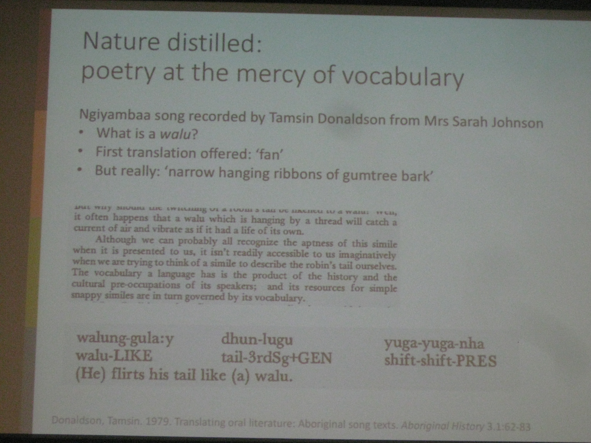 Waving to the other side: language of poetry in indigenous Australian song Nick Evans University of Melbourne 2018 nature distilled ngiyambaa song walunggula dhunlugu yugayuganha
