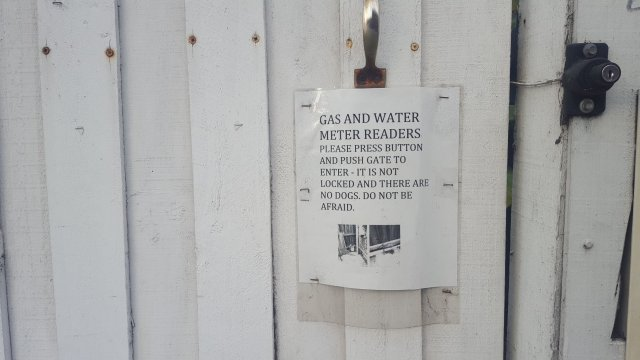funny signs on gates for meter readers