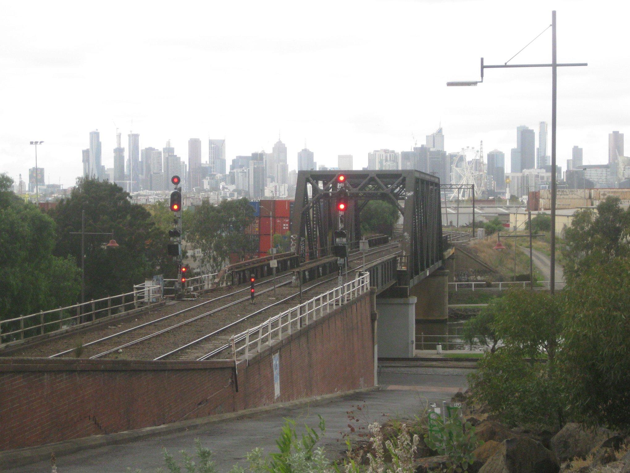 footscray walk my neighbourhood view Melbourne CBD trainline