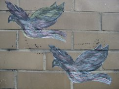 Footscray disability pride wall paste ups birds